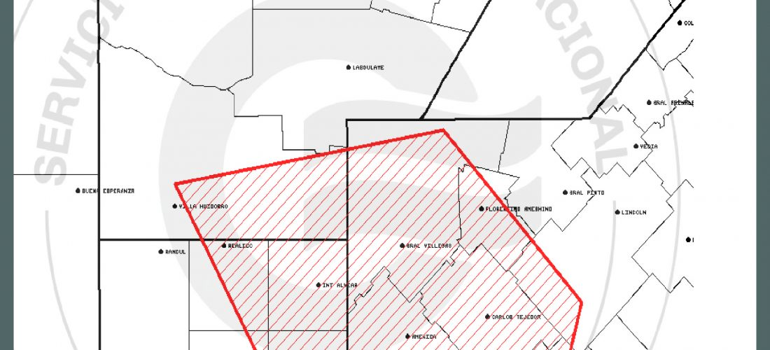 Rige alerta por tormentas fuertes, ráfagas y granizo para el sur de Córdoba