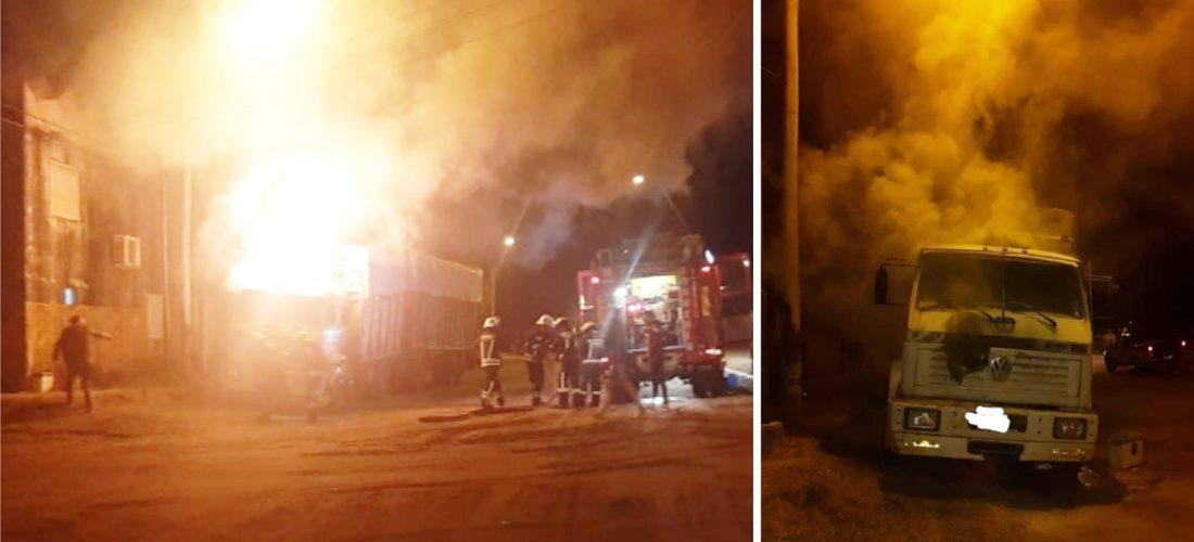 Bomberos controlaron incendio de un camión en Huinca Renancó