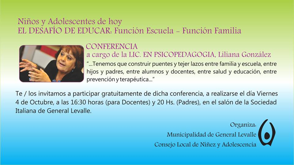General Levalle: la Lic. Liliana González brindará conferencia destinada a docentes y padres