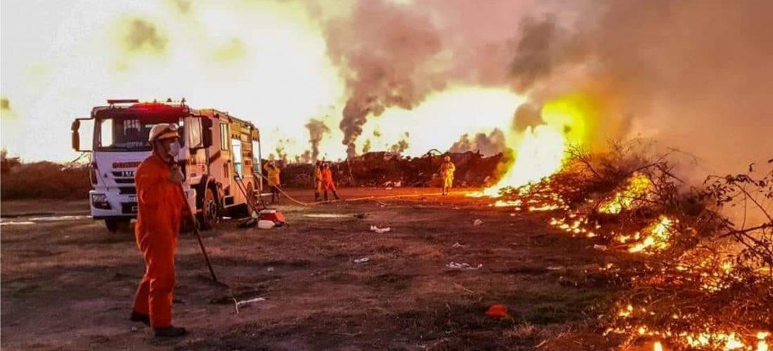 Bomberos voluntarios controlaron incendio en el sector quintas de Serrano